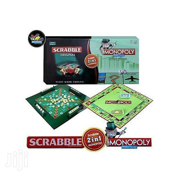 2-in-1 Monopoly & Scrabble Set Classic Board Game Educational
