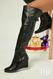 Black Faux Leather Slouchy Wedge Boots   Shoes for sale in Nairobi, Mugumo-Ini (Langata)