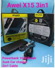 Awei X15 3in1   10000mah Power Bank+ Dual Port Car Charger And Cables | Vehicle Parts & Accessories for sale in Nairobi, Nairobi Central
