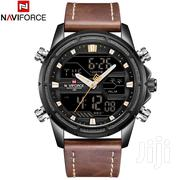 NAVIFORCE 9138 Male Quartz LCD Digital Watch Calendar Leather Band New | Watches for sale in Nairobi, Nairobi Central