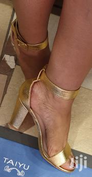 Gold Chunky Heels | Shoes for sale in Mombasa, Changamwe