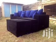 Black Sofa Blue Pillows | Furniture for sale in Uasin Gishu, Kimumu