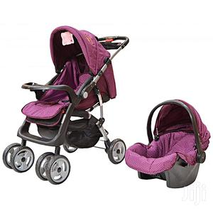 Maroon Foldable Baby Stroller/ Pram/Push Chair/ Buggy & Baby Carrier