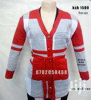 Women Free Size Open Front Knit Checked Cardigan Button Down Sweater | Clothing for sale in Nairobi, Nairobi Central
