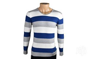 Men Half Zipped Sweater With Stripes