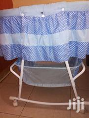 Blue Polka Dotted Baby Cot With Wheels and a Net. | Children's Furniture for sale in Nakuru, London