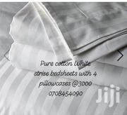 Pure Cotton White Striped Fitted and Flat Bedsheets | Home Accessories for sale in Mombasa, Shimanzi/Ganjoni