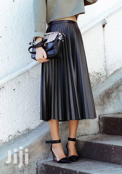 Archive: Black Leather Pleated Skirt
