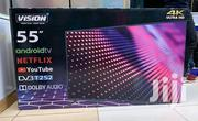 """Vision Plus 55"""" Frameless 4K UHD Android TV Silver +FREE Wall Mount 