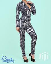 Fashion RK Black Round Neck Zip-Up Stretch Jumpsuits | Clothing for sale in Nairobi, Nairobi Central