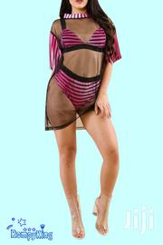 Rose Red Striped Bra Bikini Mesh Cover Up Three Pcs Swimsuit-Swimwear | Clothing for sale in Nairobi, Nairobi Central