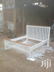 5 by 6 White Bed With a Wooden Finish. | Furniture for sale in Nakuru, London