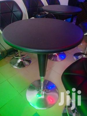 Bar Table. Adjustable Height, Pure Leather and Chrome.