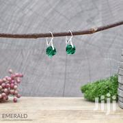 Round Bead Sterling Silver Earrings With Swarovski Crystal – Emerald | Jewelry for sale in Nairobi, Nairobi Central