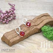 Round Bead Sterling Silver Earrings With Swarovski Crystal Light Siam | Jewelry for sale in Nairobi, Nairobi Central
