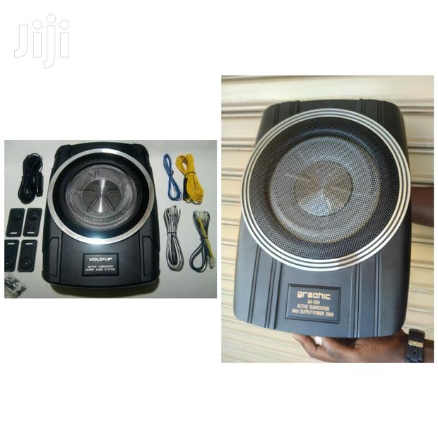 """Compact Powered Subwoofer: 250 Watts And An 8"""" Sub- Graphic"""