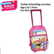 "Trolley Wheel School Bag 14"" Medium Size For Girls 