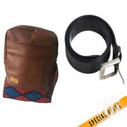 Brown Leather Backpack Plus Black Leather Belt | Bags for sale in Nairobi, Nairobi Central