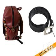 Maroon Leather Backpack Plus A Black Leather Belt | Bags for sale in Nairobi, Nairobi Central