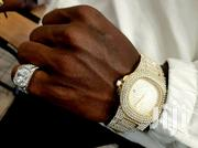 Men Watch Crystal Gold Iced Date Format + Free Crystal Ice Silver Ring | Jewelry for sale in Nairobi, Embakasi