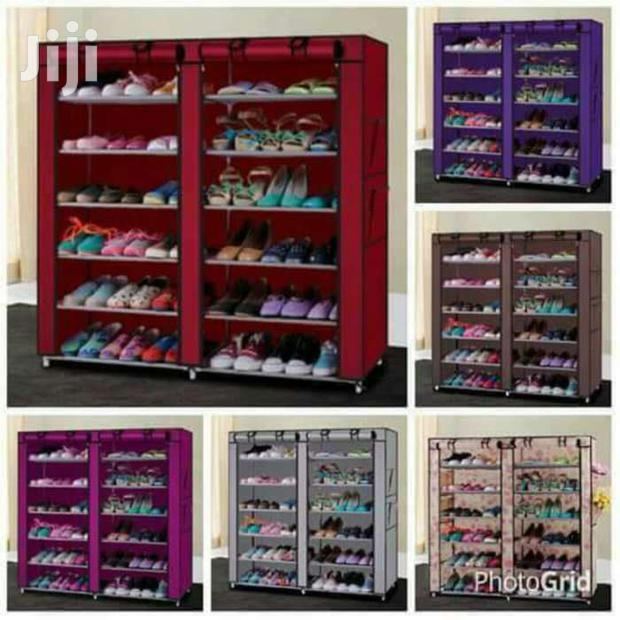 Archive: Two Columns Portable Wooden Frame Shoe Rack