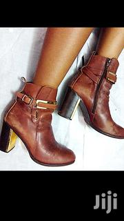 Brown Leather Ankle Boots With Gold Detail | Shoes for sale in Nairobi, Uthiru/Ruthimitu