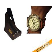 Male Vintage Watch + Leather Waist Bag | Watches for sale in Nairobi, Nairobi Central