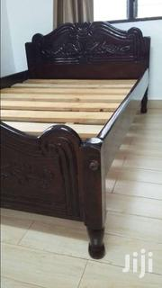 Mvule Bed 4x6ft With Beautiful Carving | Furniture for sale in Mombasa, Shimanzi/Ganjoni