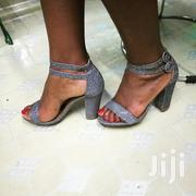"Silver Grey Chunky Heel 3""Inch 