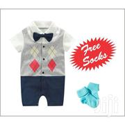Cute Baby Bowknot Checked Short Sleeve Boys Romper Jumpsuit+FREE SOCKS | Children's Clothing for sale in Nairobi, Westlands