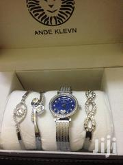 Ande Klevn Silver Elegant Gift Set - Bracelets+ Watch With a Blue Face | Jewelry for sale in Nairobi, Nairobi Central
